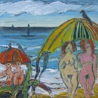 Mujeres con paraguas y nube II, 20 x 20 cm, mixed media, 2015