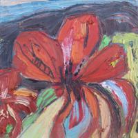 Flor II, 20 x 20 cm, óleo sobre tela, 2015 (colección privada)