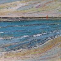 Mar con barco I, 20 x 20 cm, oil on canvas, 2017 (private collection)