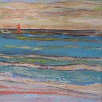 Mar con barco II, 20 x 20 cm, oil on canvas, 2017 (private collection)