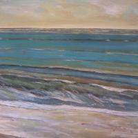 Rítmo cálido con horizonte, 92 x 73 cm, oil on canvas, 2017