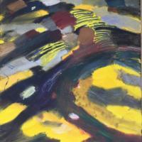 Mutación terrestre cálida I, 92 x 73 cm, oil on canvas, 2019