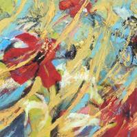 Flor y espacio I, 55 x 46 cm, oil on canvas, 2019