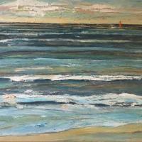 Olas con barco, 80 x 50 cm, oil on canvas, 2019 (private collection)