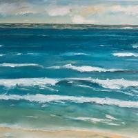 Rítmo turquesa II, 92 x 73 cm, oil on canvas, 2019