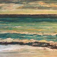 Rítmo verde con turquesa, 92 x 73 cm, oil on canvas, 2019 (private collection)