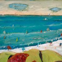 El pajaro y la playa, 55 x 46 cm, oil on canvas, 2019