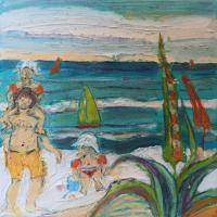Jugando II, 20 x 20 cm, oil on canvas, 2018