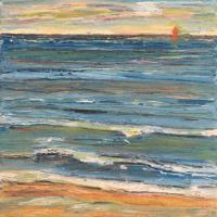 Mar con barco III, 20 x 20 cm, oil on canvas, 2018