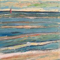 Mar con barco IV, 20 x 20 cm, oil on canvas, 2018