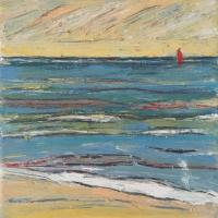 Mar con barco V, 20 x 20 cm, oil on canvas, 2018