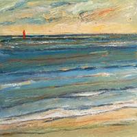 Mar con barco VI, 20 x 20 cm, oil on canvas, 2018