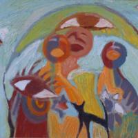 Grupo con gato y ojos mirando, 46 x 38 cm, óleo sobre tela, 2006