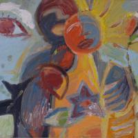 Pareja feliz con gato y ojo mirando, 46 x 33 cm, oil on canvas, 2006 (private collection)
