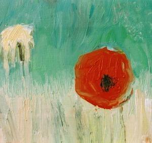 Flor II, 27 x 22 cóleo sobre tela, 2004 (colección privada)