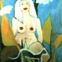 Mujer con nubes, 100 x 130 cm, óleo sobre tela, 2001 (colección privada)
