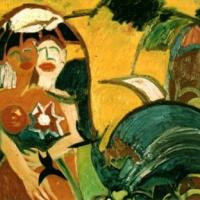 Mujeres con sombrero, 100 x 90 cm, óleo sobre tela, 2001 (colección privada)
