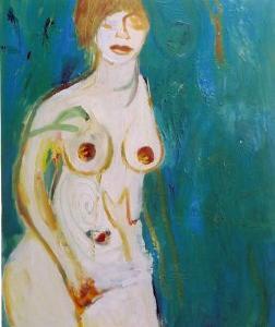Mujer con azul, 100 x 81 cm, óleo sobre tela, 2004