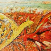 Gallos con tierra ardiendo I, 45 x 33 cm, oil on canvas, 2011