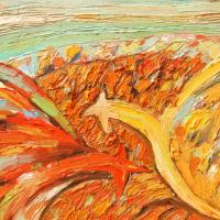 Gallos con tierra ardiendo II, 45 x 33 cm, óleo sobre tela, 20011 (colección privada)