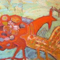Gallos y el cielo I, 45 x 38 cm, óleo sobre tela, 2011