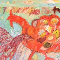 Gallos y el cielo II, 45 x 38 cm, óleo sobre tela, 2011
