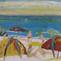 Papagayos en la playa II, 92 x 73 cm, oil on canvas, 2008