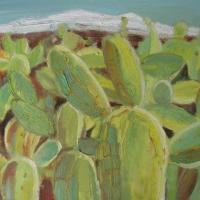 Mar de cactus con sierra, 55 x 46 cm, oil on canvas, 2010