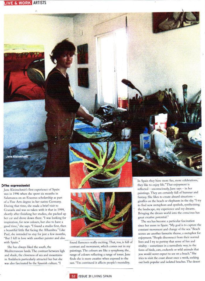 A press cutting about the artist Jane Kleinschmit