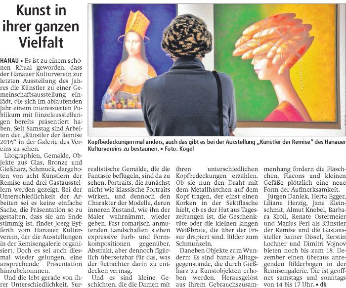 Press cutting for artist Jane Kleinschmit