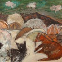 Gatos en la playa, 50 x 40 cm, mixed media on wood, 2000