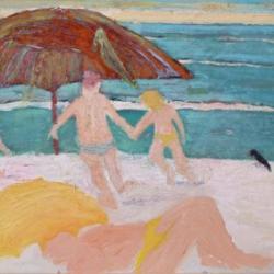 Mar con paraguas y tres pajaros, 90 x 65 cm, oil on canvas, 2006