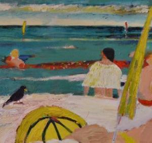 Mar con paraguas y dos pajaros, 80 x 55 cm, oil on canvas, 2006