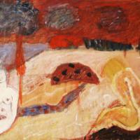 Mujeres en la playa, 50 x 60 cm, mixed media on wood, 2000