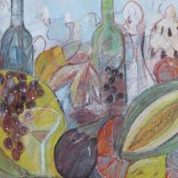 Fiesta de otoño VIII, 55 x 46 cm, mixed media, 2010