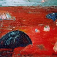 Mar rojo con paraguas, 92 x 73 cm, oil on canvas, 2004
