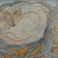Gato durmiendo, 53 x 43 cm, técnica mixta sobre papel, 2006