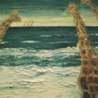 Jirafas en la playa, 65 x 54 cm, óleo sobre tela, 2002 (colección privada)
