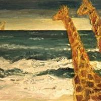 Jirafas y el mar, 65 x 55 cm, óleo sobre tela, 2001 (colección privada)