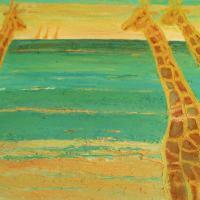 Jirafas con olas, 92 x 73 cm, óleo sobre tela, 2007