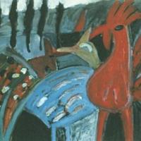 Gallos, 50 x 38 cm, acrílico sobre tela, 1999